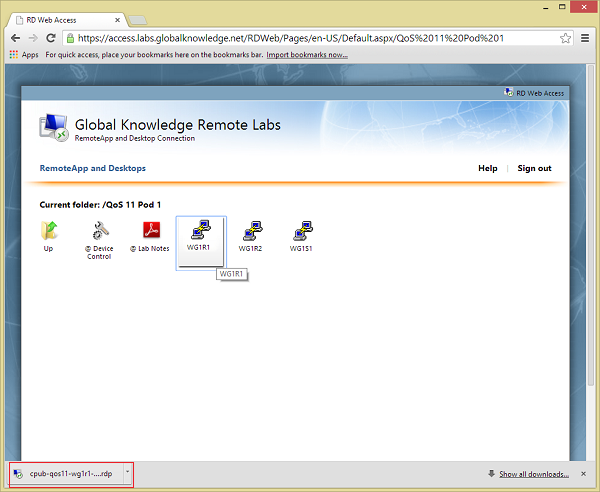 Accessing the Remote Labs portal from Windows using Chrome